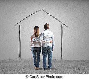 projeto, casa, par