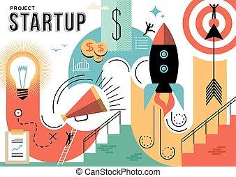 projeto, conceito, startup, ilustração negócio