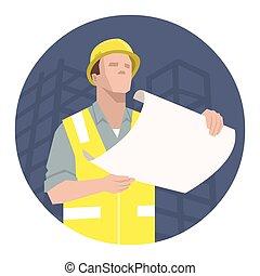 projeto, construção, plano