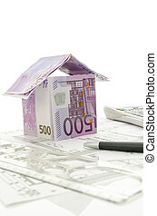 projeto, dinheiro, feito, arquitetônico, casa