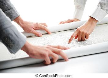 projeto, fim, desenhos técnicos, cima, mãos