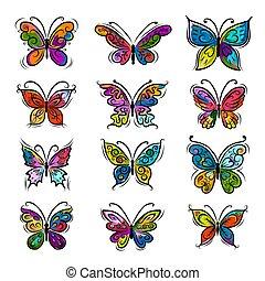 projeto fixo, borboletas, seu, ornamental