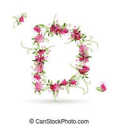 projeto floral, d, letra, seu