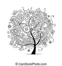 projeto floral, esboço, árvore, seu