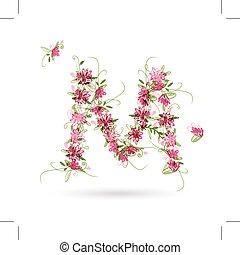 projeto floral, m, seu, letra