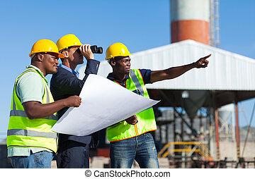 projeto, gerente, local construção, visitando