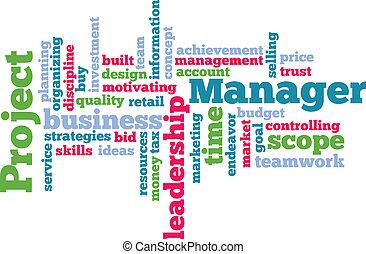 projeto, gerente, palavra, nuvem