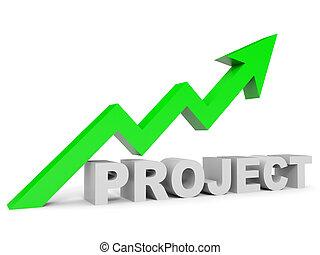 projeto, gráfico, cima, arrow.