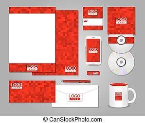 projeto incorporado, vermelho, identidade, modelo