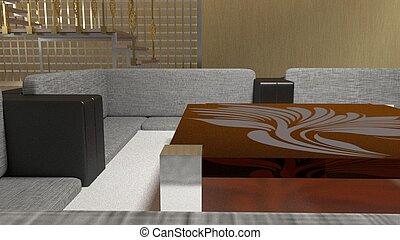 projeto interior, 3d, render