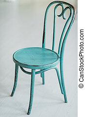 projeto interior, cena, com, antigas, madeira, branca, cadeira