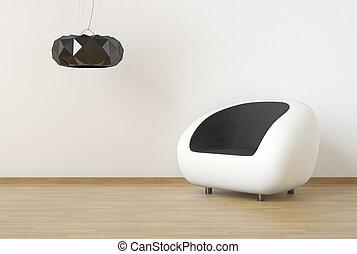 projeto interior, cena, com, branca, e, pretas, mobília, ligado, um, limpo, parede