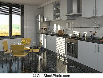 projeto interior, cozinha
