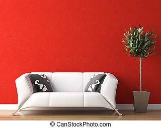projeto interior, de, branca, sofá, ligado, parede vermelha