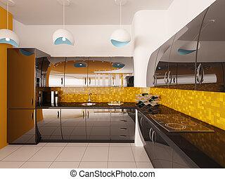 projeto interior, de, modernos, cozinha, 3d, render