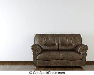 projeto interior, parede branca, com, sofá couro
