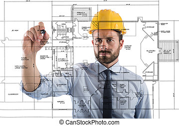projeto, interiores, construir