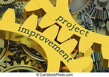 projeto, melhoria, conceito, ligado, a, engrenagens, 3d, fazendo