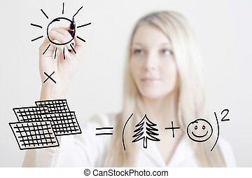 projeto, mulher, simbólico, solar, mostrar, jovem