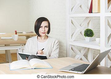 projeto, mulher, trabalhando, negócio, atraente