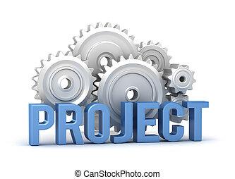 projeto, palavra, com, cogs, em, backgroun