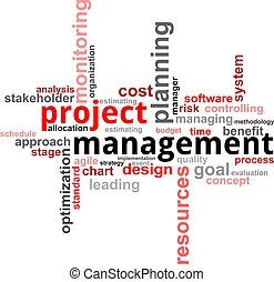 projeto, palavra, gerência, -, nuvem