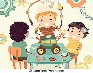 projeto, steampunk, crianças, stickman, ilustração