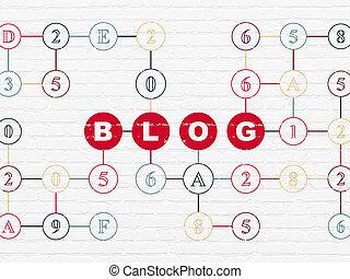 projeto teia, concept:, blog, ligado, parede, fundo