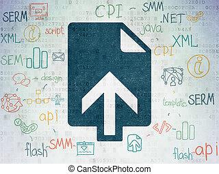 projeto teia, concept:, upload, ligado, digital, dados, papel, fundo