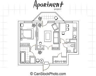 projeto, topo, apartamento, vista