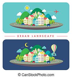 projeto urbano, paisagem, ilustração, apartamento