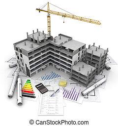 projeto, vista geral, construção
