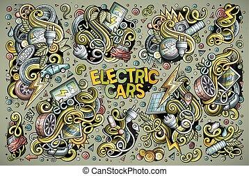 projetos, jogo, elétrico, coloridos, doodle, vetorial, carros, caricatura
