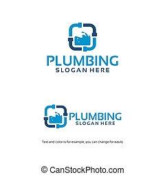 projetos, modelo, água, símbolo, serviço, logotipo, prumo