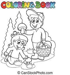 proliferar, libro colorear, niños