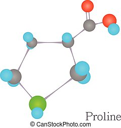 Proline 3D molecule chemical science
