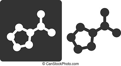 Proline amino acid molecule, flat icon style. Carbon, nitrogen and oxygen atoms shown as circles.