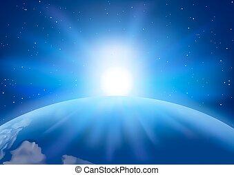 proložit, západ slunce, grafické pozadí