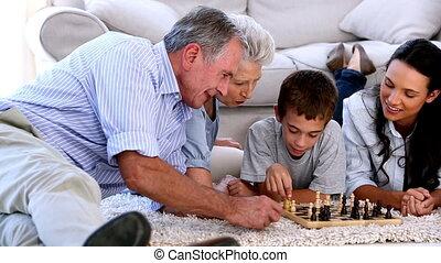 prolongé, toget, jouer, famille, échecs
