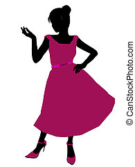 Prom Girl Illustration Silhouette - Prom Girl silhouette on...