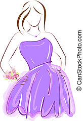 Prom girl in purple dress - Abstract girl in purple prom...