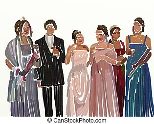 prom night - Group of teenagers all dressed up on prom night...