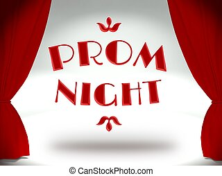 Prom night on theater stage with red curtains, invitation