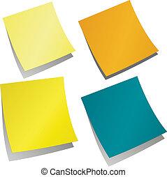 promemoria, adesivi, colorato, promemoria