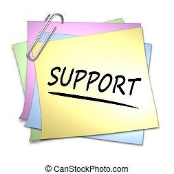 promemoria, con, fermaglio carta, -, sostegno