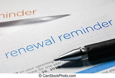 promemoria, lettera, rinnovamento