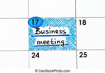 promemoria, riunione, calendario, affari
