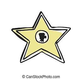 promenade étoile, dessiné, main, renommée, icône