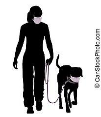 promenade, aller, masque, chien, protecteur, femme