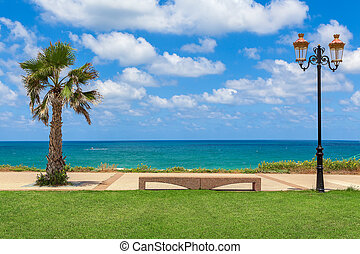 Promenade along the shore of Mediterranean sea in Israel.